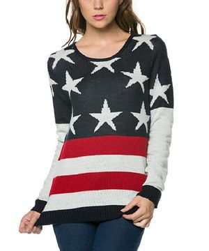 This Stars & Stripes Round Neck Sweater by Elegant Apparel is perfect! #zulilyfinds