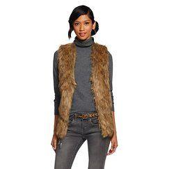 XHIL Pattern-Back Fur Vest Tan