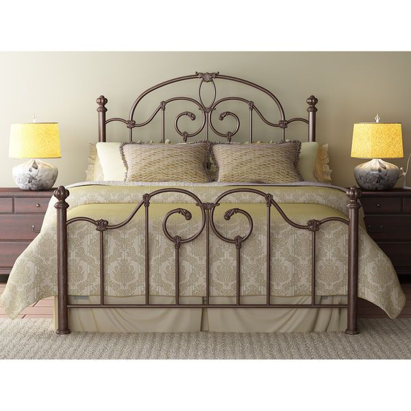Queen Metal Bed Frame Brown Wrought Iron Look Antique Vintage Rustic Victorian Bettgestell Bett Ideen Bett Mobel