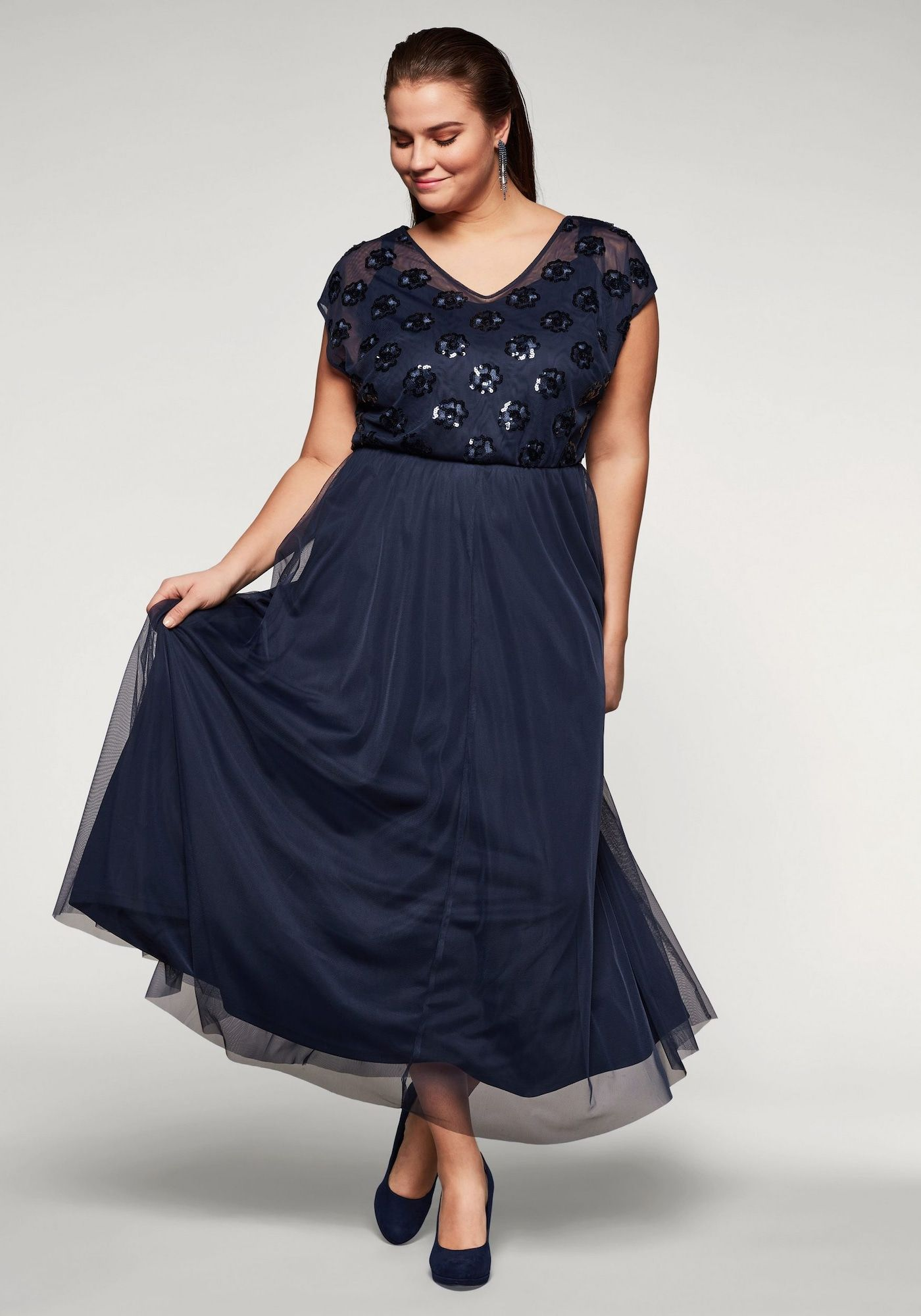 SHEEGO Abendkleid Damen, Nachtblau, Größe 16  Abendkleid, Sheego