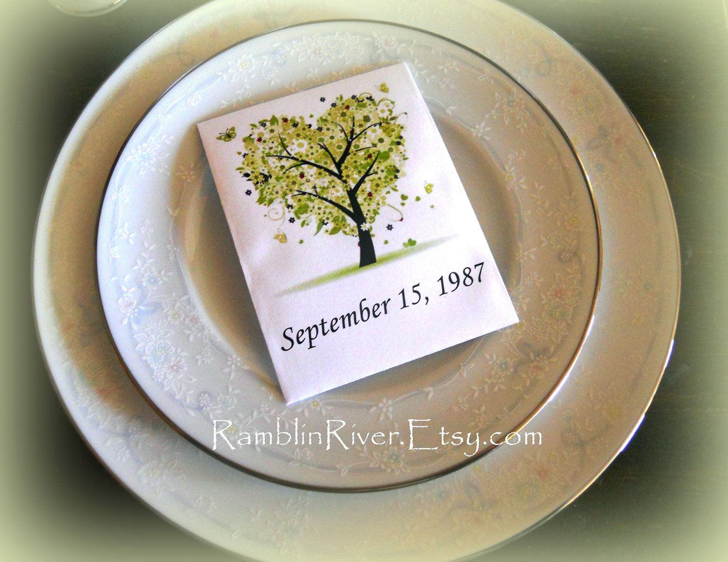 Green Tree Print Flower Seed Packet Unique Wedding Favors Includes 250