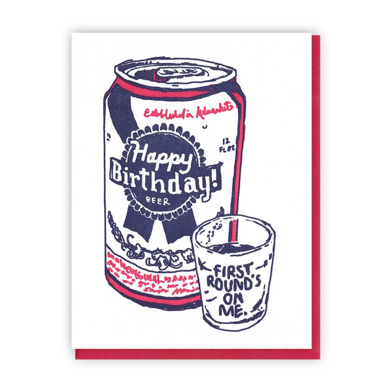 Pabst blue ribbon birthday card Happy birthday beer
