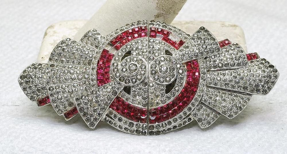 Antique Coro Duette Rhinestone Red Ruby color stone 2 piece Pin Needs  stones  costumejewelry 64aa85a18cb9