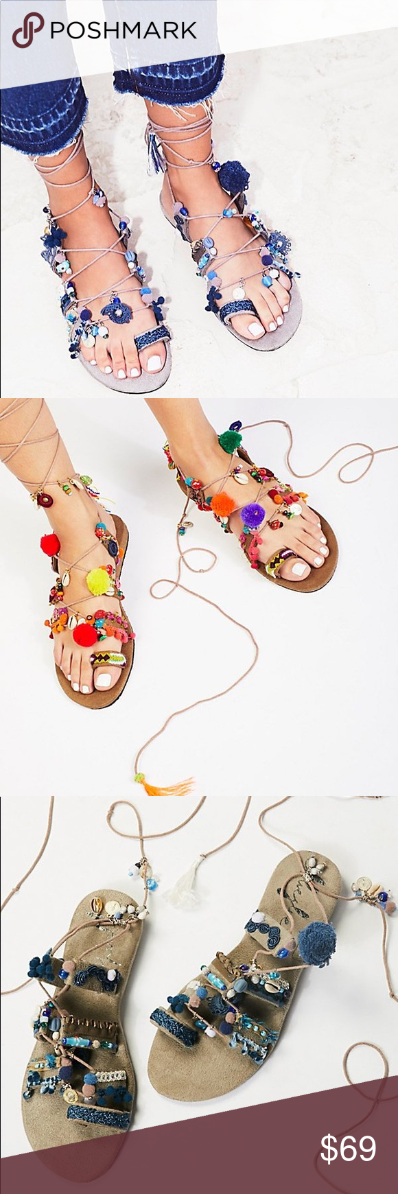 19d2df102c85b4 Free People Fools Gold Wrap Sandals Boho-inspired wrap sandals featuring an  ornate design with colorful embroidery and pom accents with beachy charms  ...
