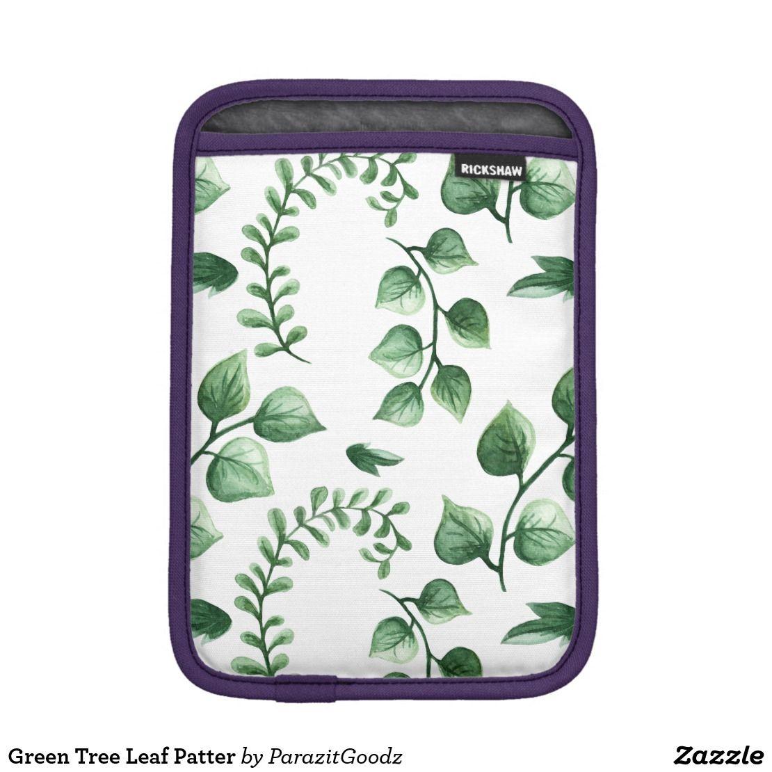 Green Tree Leaf Patter iPad Mini Sleeve | Zazzle.com