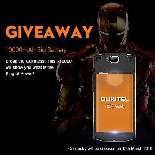 Join this amazing giveaway from efox-shop's Oukitel K10000 Simply the BEST.