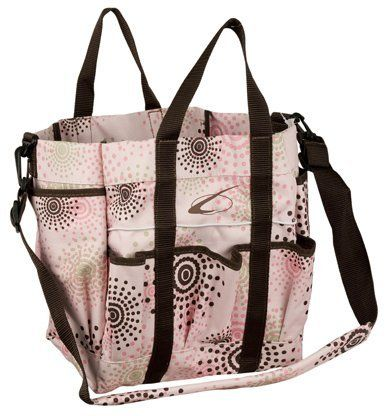 "Lami-Cell Pastel Fashion Large Stable Tote by Lami-cell. $12.99. 8 outside pockets. 2 Carry Straps. 2 inside pockets. Removable shoulder strap. 600 Denier. Stable Tote w/carry straps 600D w/PVC backing. This tote has room enough for all your brushes, hoof oil and any other grooming item you may need. Base 8 1/2""x10"", Height 11"". Save 64%!"