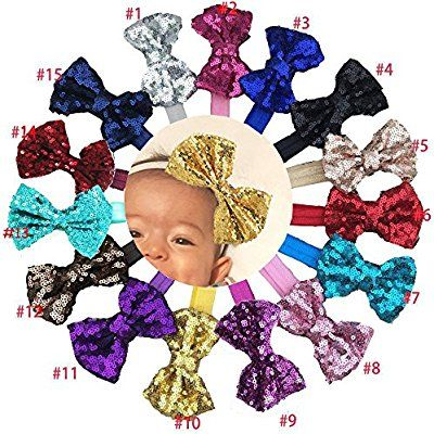 Amazon.com  15Pcs Baby Girls Headbands 4   Big Boutique Bling Sparkly  Glitter Sequin Hair Bows Headband Elastic Hair Bands Hair Accessories for  Toddlers ... 71026a801b7