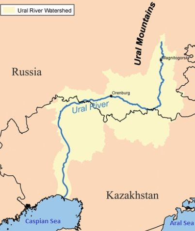 Ural River Map Map of the Ural River | One World | River, Kazakhstan, World Ural River Map