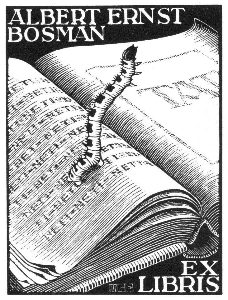bookplate by M.C. Escher