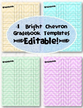 Editable Chevron Gradebook Templates  Pack Of   Template