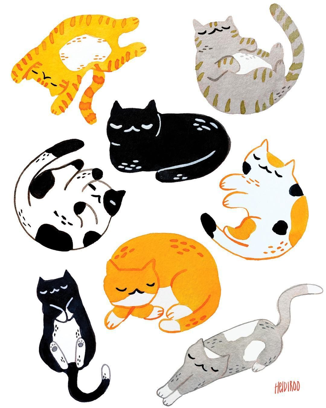 Heidi Moreno On Instagram More Cats Because Cats And Cats You Know This Print Is Coming With Me To Brea Pet Expo Breaspecialevents Cat Art Cat Drawing Cute Art