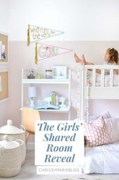 Photo of The Girls' Shared Bedroom + Bunk Beds – Chrissy Marie Blog  Talking about my gir…
