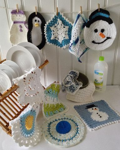 Picture of Winter Dishcloth Set Crochet Pattern