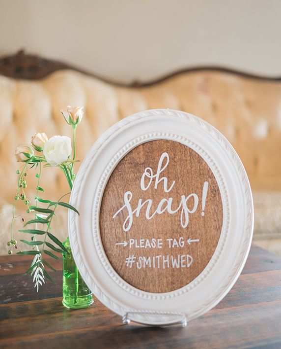Wedding Hashtag Sign Hand Lettered Calligraphy Wood With White Frame