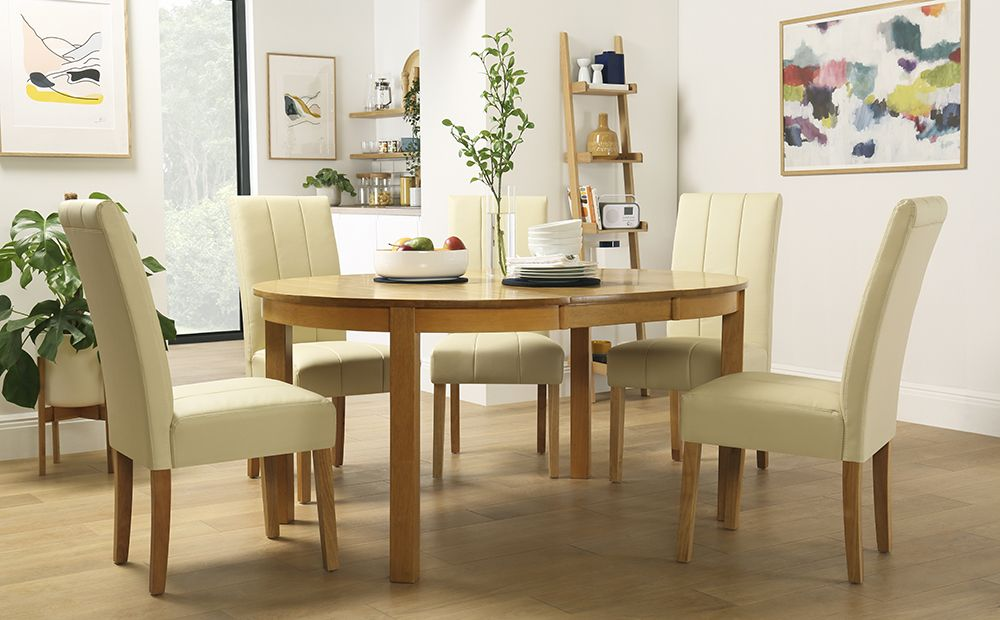 Marlborough Round Oak Extending Dining Table With 6 Carrick Ivory