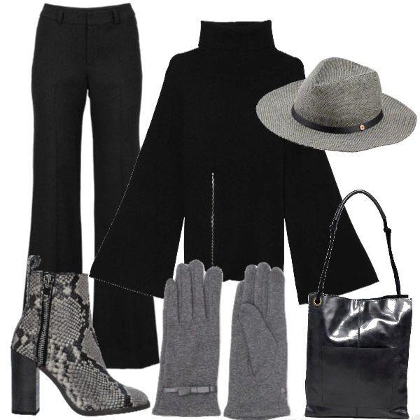 Pantalone nero con maglione oversize con zip sul davanti e spacchi  laterali. Stivaletti pitonato guanti e cappello grigi e borsa shopper di pelle  nera. f2fbc94dbdb