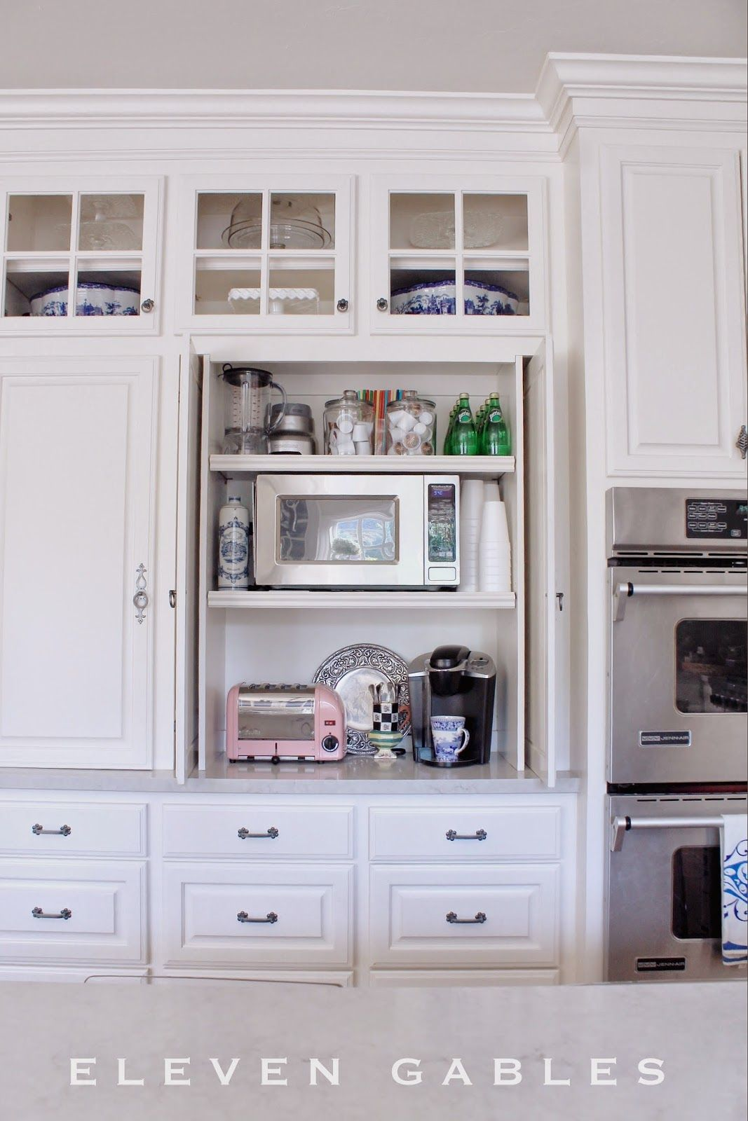 Kitchen Appliance Shelf Cheap Faucets Hidden Cabinet And Desk Command Center In The