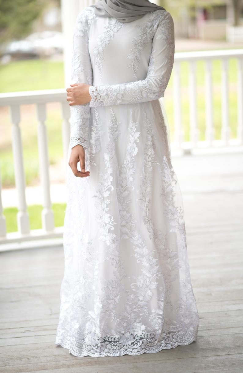 Snow White Embroidered Princess Gown Muslimah Wedding Dress Bridal Wear Nikah Dress