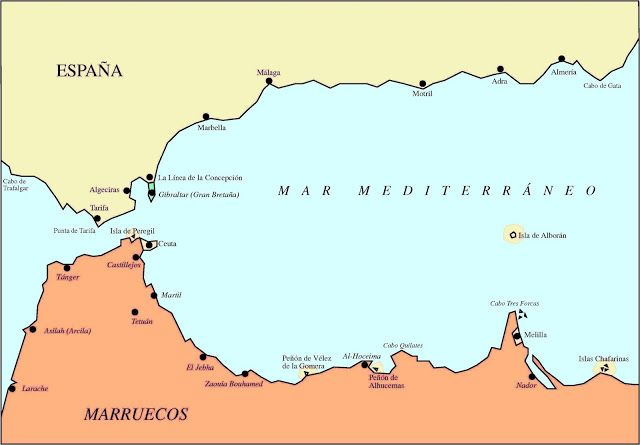 Mapa Marruecos Ceuta Y Melilla.Posesiones Espanolas En El Norte De Africa Ademas De Ceuta