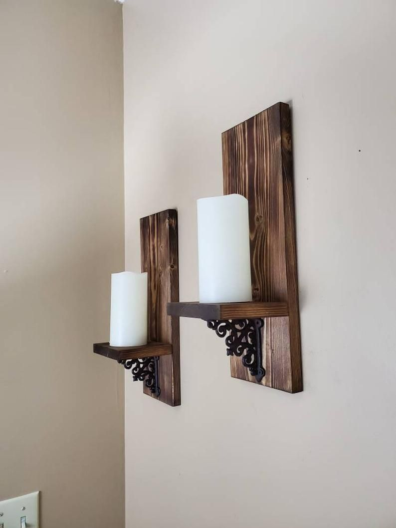 Rustic Candle Holder Wood Wall Sconce Wooden Candle Holder Etsy In 2021 Wooden Candle Sconces Wall Candle Holders Rustic Wall Decor