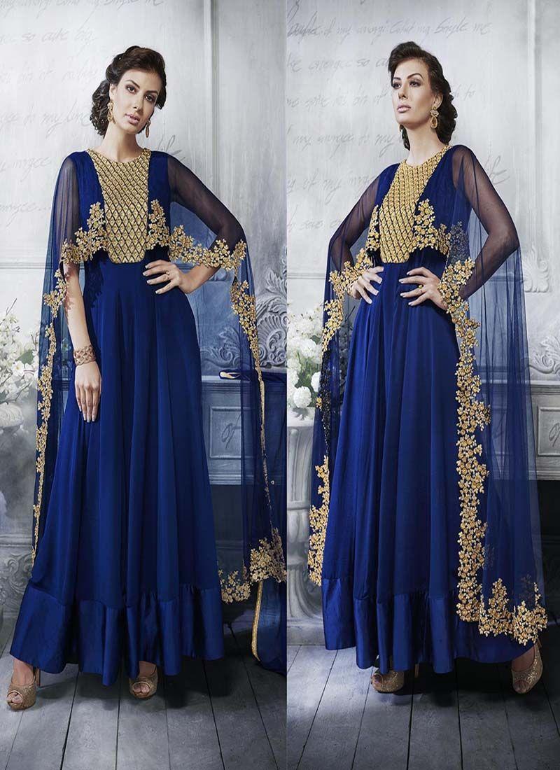 91a0c385db Blue Colour Georgette Designer Party Wear Gown