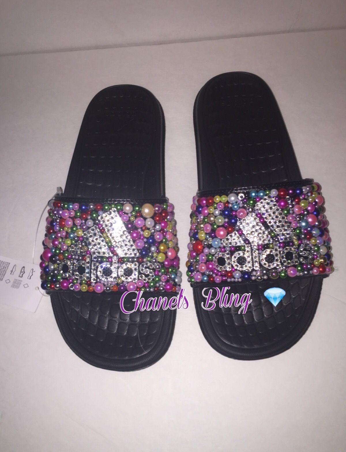 eadc6fc50 Custom Adidas Bling Flip Flops Slides | fashion in 2019 | Shoes ...