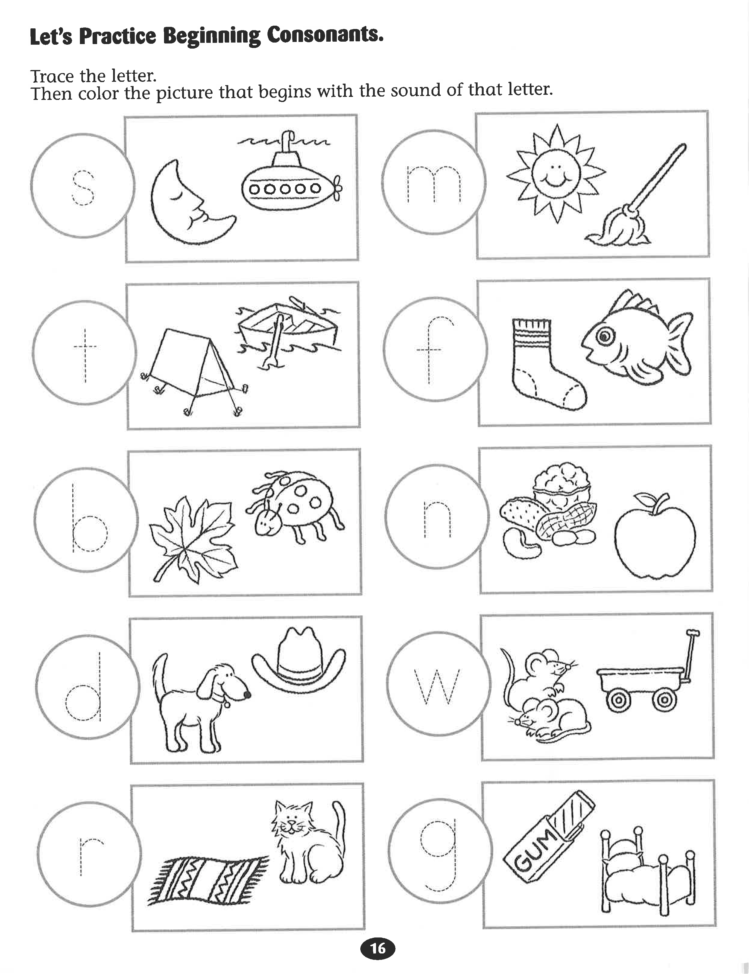 Let S Practice Beginning Consonants Worksheet