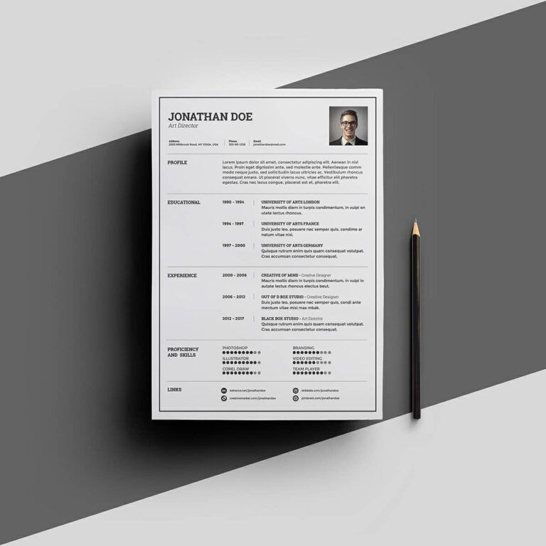 resume template with picture word