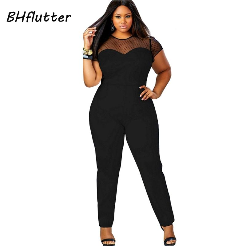 5c60e4baa43 2017 Rompers 4XL Plus Size Clothing Women Short Sleeve Casual Jumpsuits  Lace Patchwork Women s Sexy Vintage Overalls Playsuits