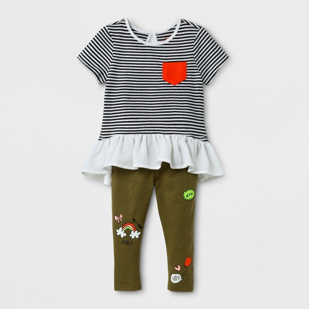 c73ca8b82643 Baby Girls  2pc Stripe Tunic and Patch Leggings Set - Cat   Jack ...