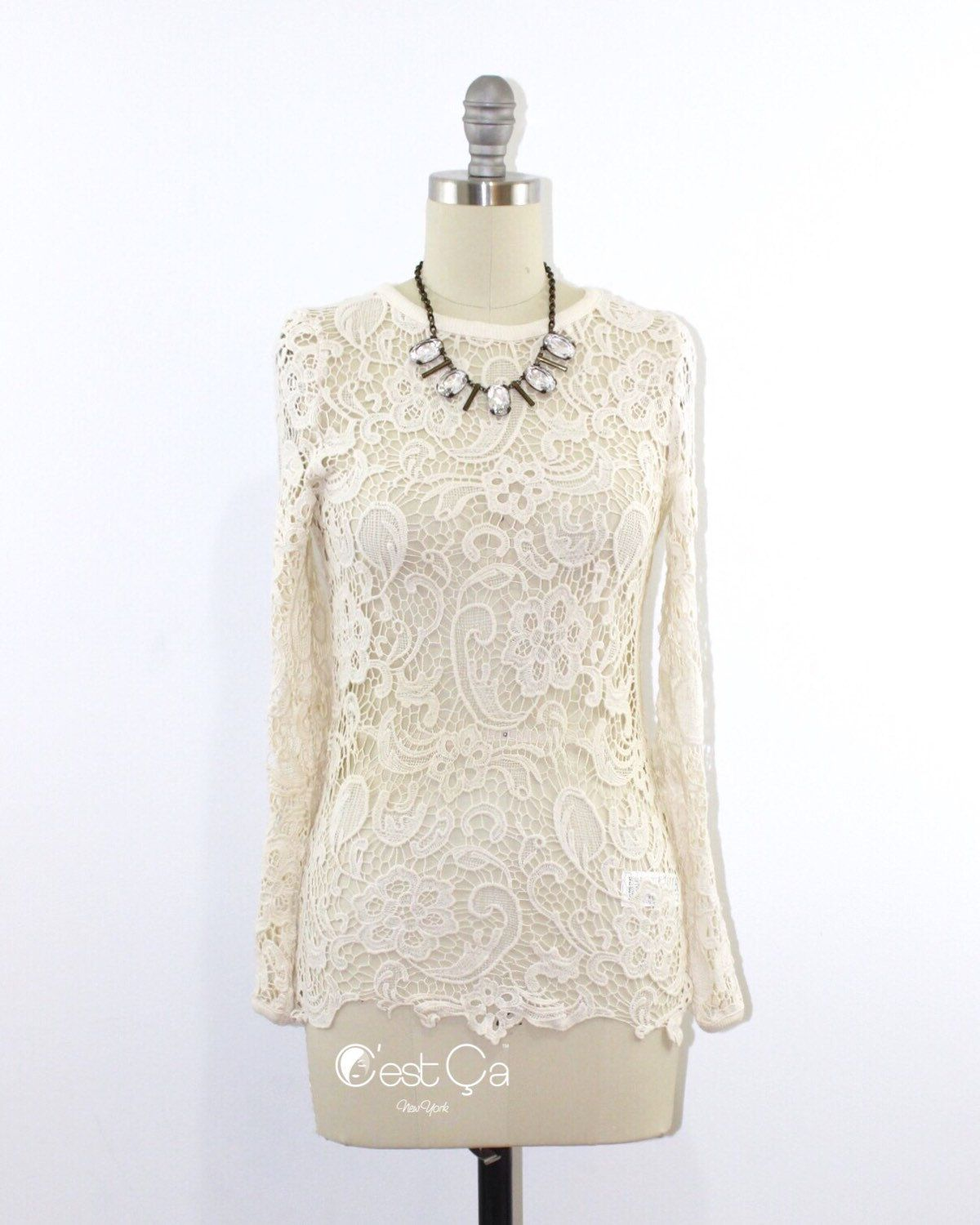 Sonia - Guipure Lace Fitted Shirt in Ivory, Vintage Inspired Blouse, Guipure Crochet Lace Top  Classic embroidered fitted shirt to wear with skinny jeans and A-line skirt...   https://nemb.ly/p/4yH0WjDuW Happily published via Nembol