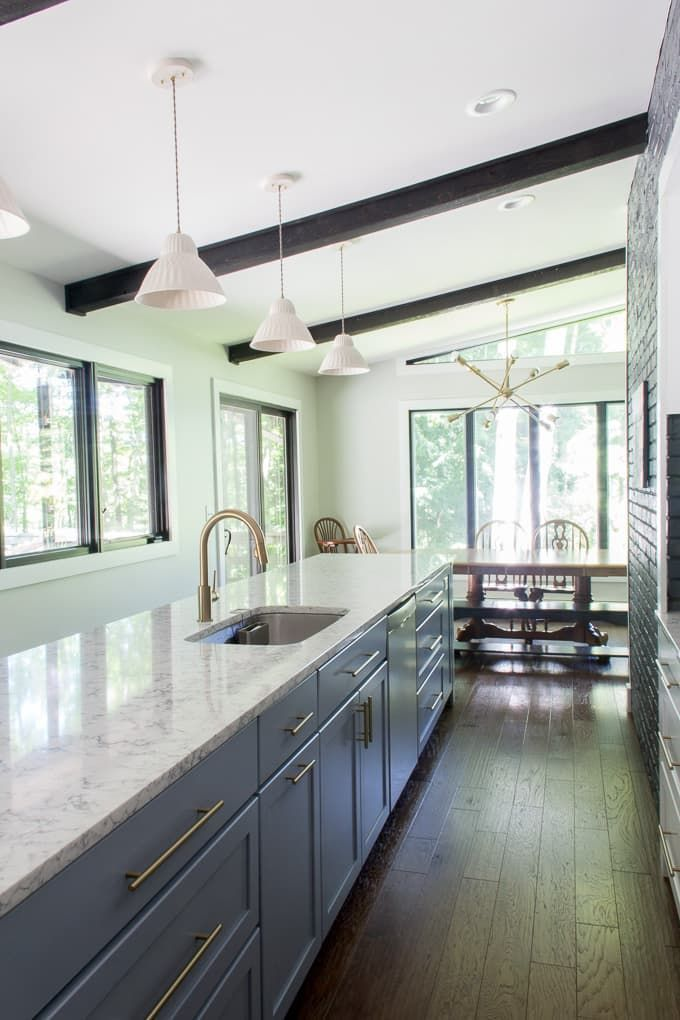 Modern Kitchen Retro Renovation Seventies Grey And White Br In With Long Island Www
