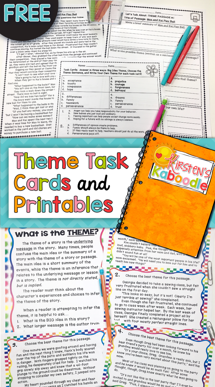 Free These Theme Activities Are Perfect For 3rd 6th Grade This Free Theme Pack Includes A Full Page Rea Reading Themes Theme Reading Passages Teaching Themes