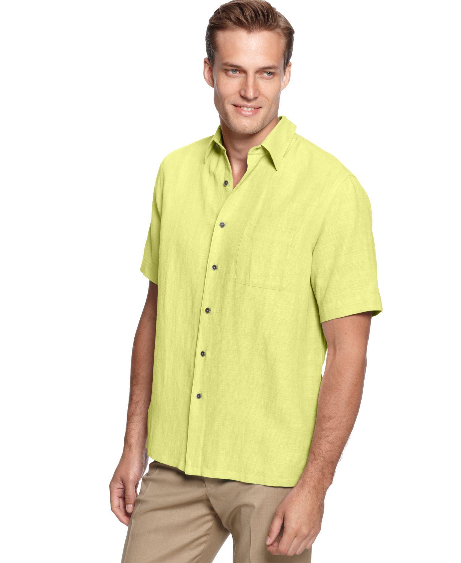 Tasso Elba Island Big and Tall Silk-Blend Crosshatch Solid Shirt