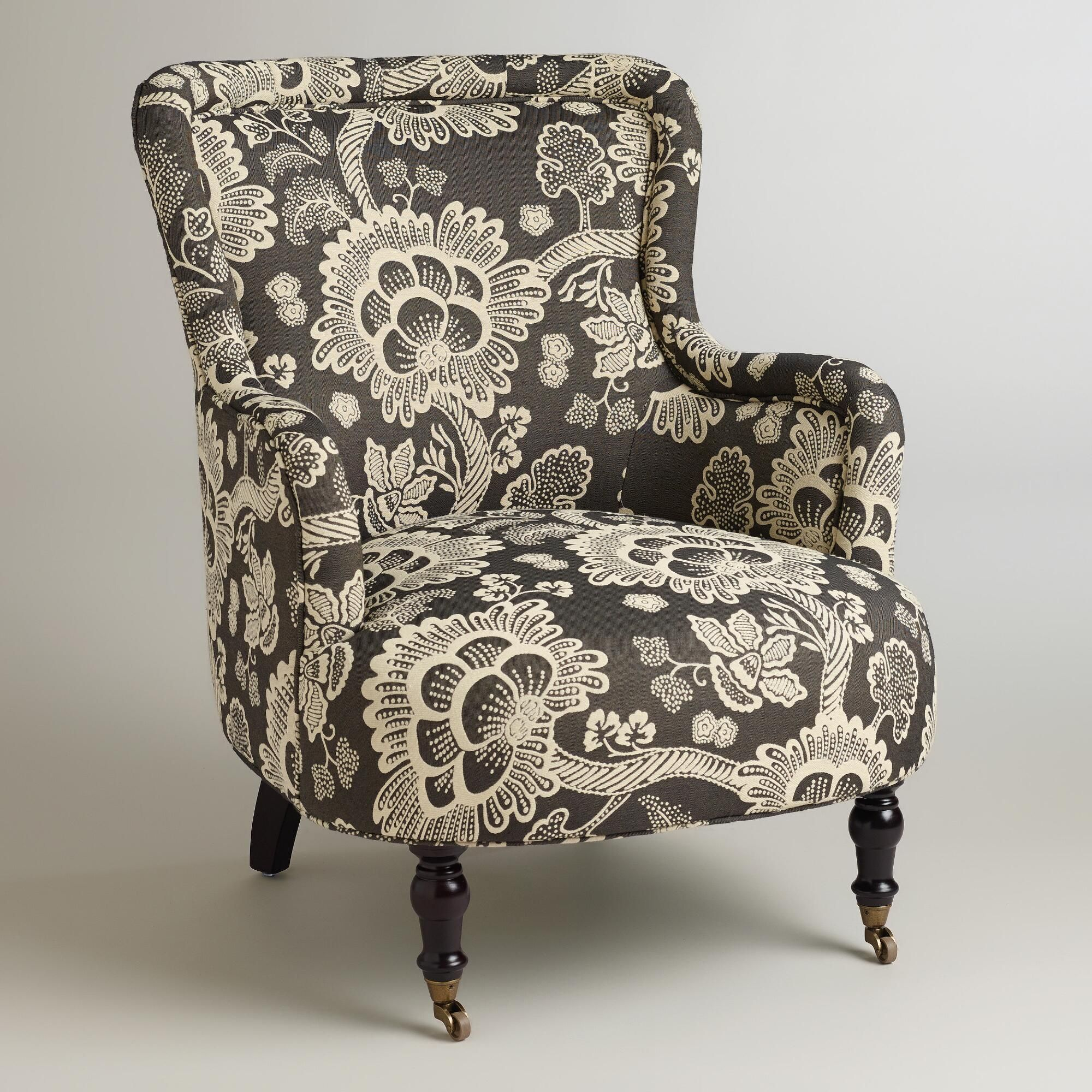 Black and white floral reading chair reading chair