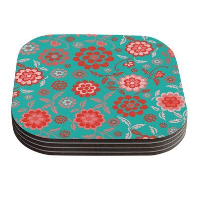 KESS InHouse Cherry Floral by Nicole Ketchum Coaster Color: Sea