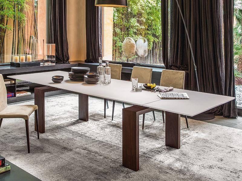 Tonin Casa Modern Brooklyn Extending Dining Table In Smoked Oak