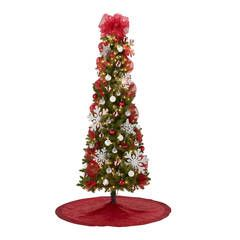 7 Pre Lit Brinkley Pine Christmas Tree With Red And Silver Decoration Kit Walmart Com Pine Christmas Tree Silver Christmas Tree Decorations Silver Christmas Tree