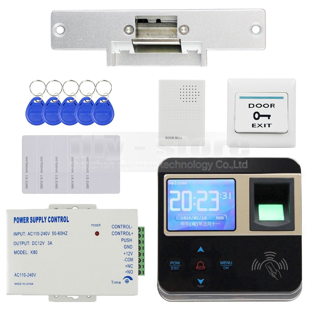 Diysecur Electric Strike Lock Fingerprint 125khz Id Card Reader Door Access Control System Kit Door Bell Access Control Access Control System Doorbell
