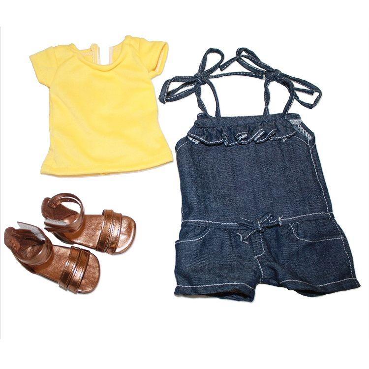 Yellow Shirt, Blue Romper, Gold Sandals...My salon Doll