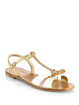 Prada Bicolor Leather Bow Sandals | Bow sandals, Sandals