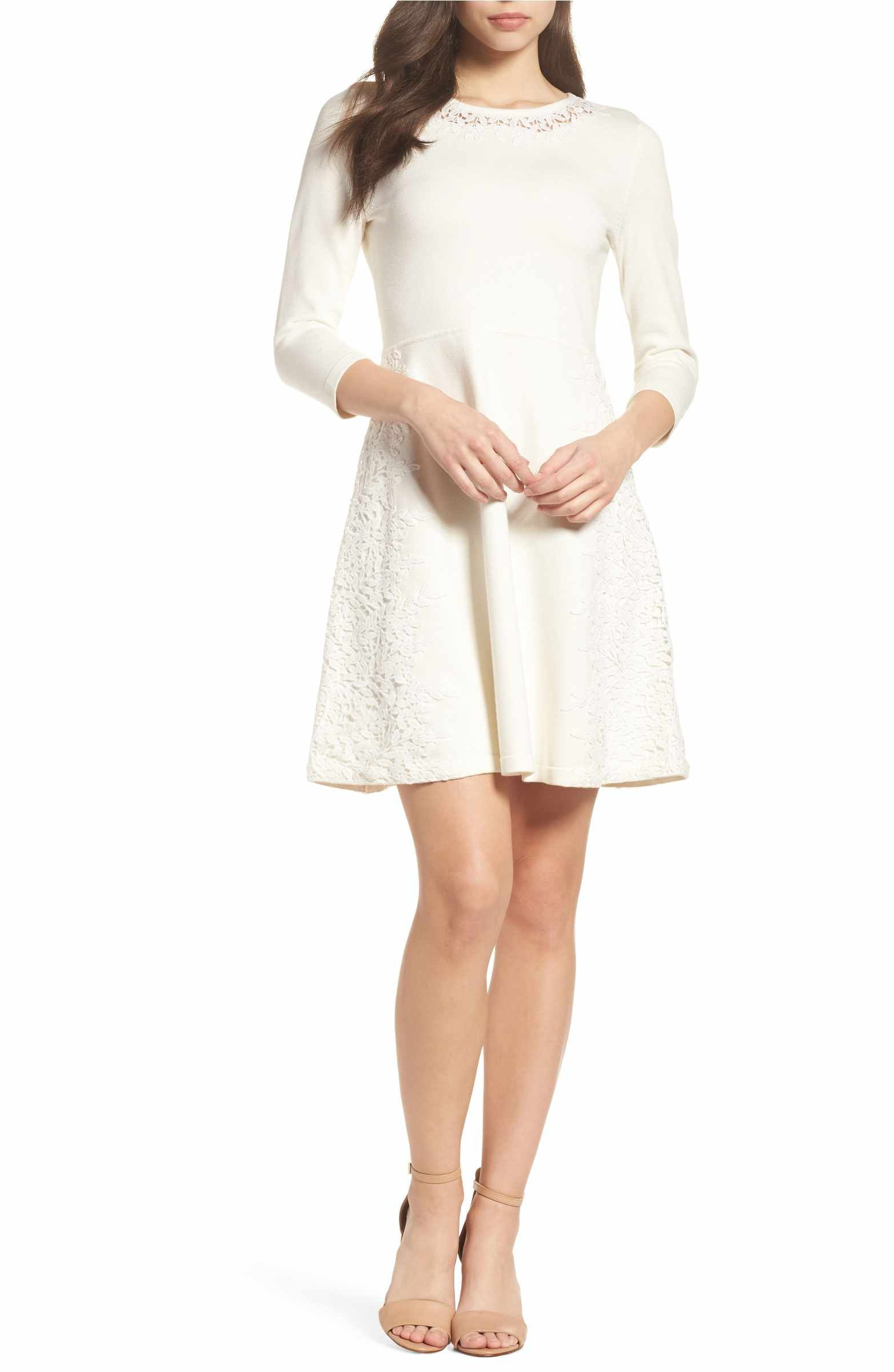 Main image eliza j lace overlay sweater dress une mariage