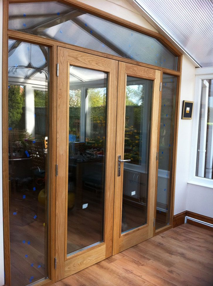 Bespoke Internal Oak French Door With Side And Top Lights Clear
