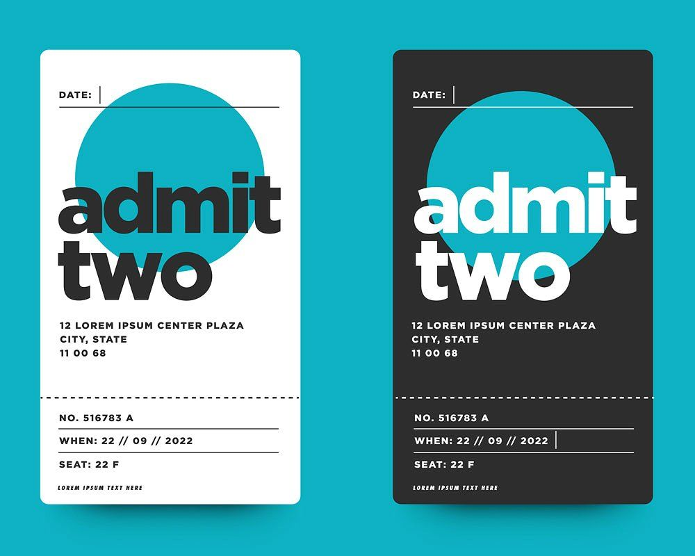Event Ticket Admit Card Design Card Design Event Entry Card Template