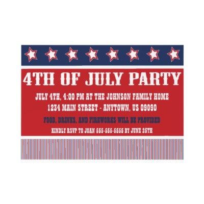 4th of July customizable invitations