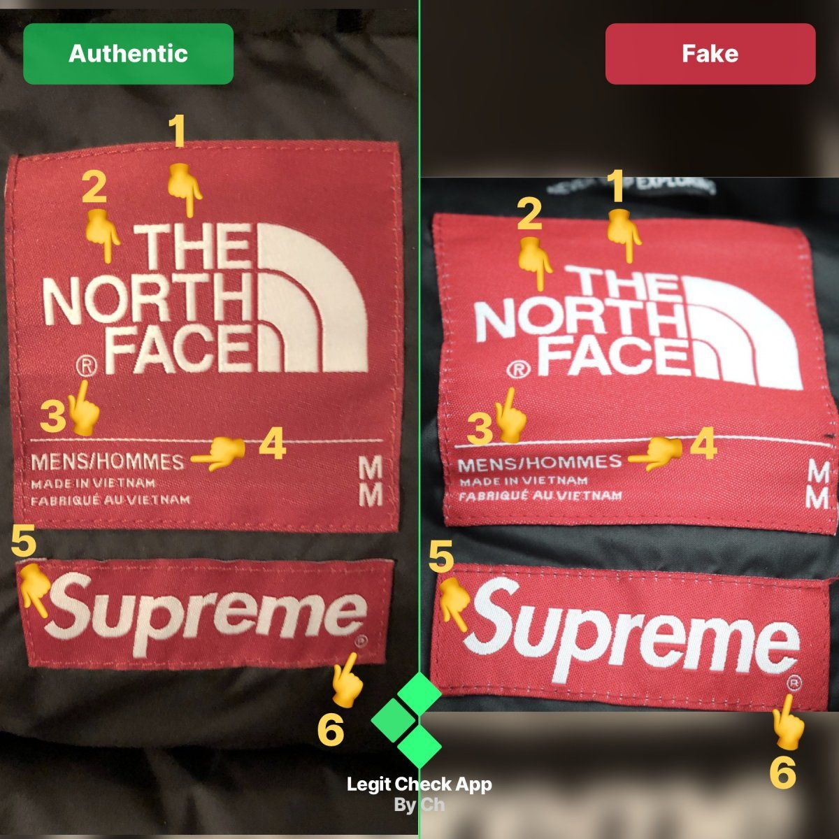 Step 1 Real Vs Fake Supreme Tnf Mountain Jacket Neck Tag The North Face Hand Emoji Mountain Jacket [ 1200 x 1200 Pixel ]