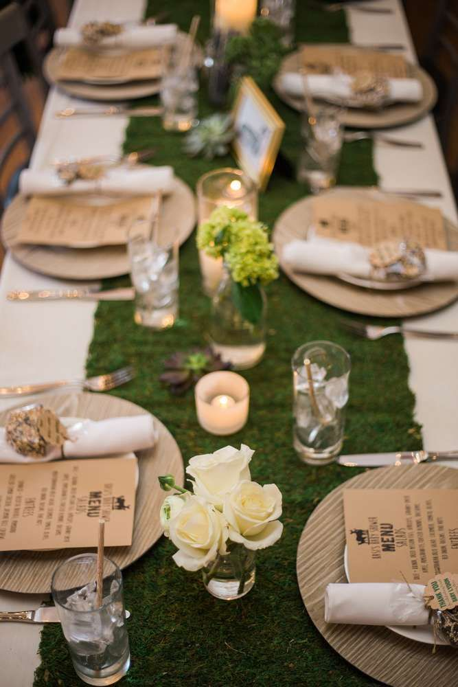 Table settings at a woodland boho baby shower party! See more party planning ide... -
