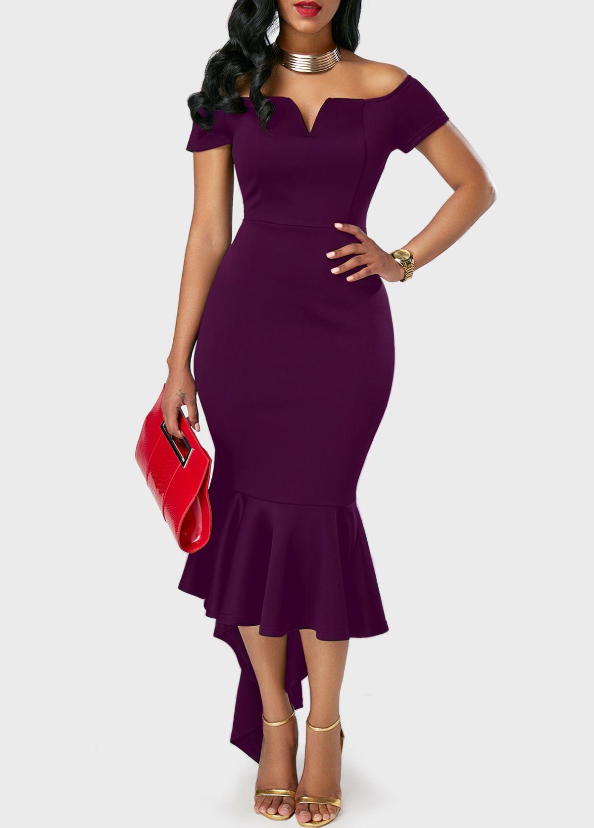 74564719d663 Split Neck Peplum Hem Purple Bardot Dress | Rosewe.com - USD $33.08 ...