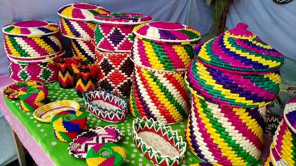 Colorful Hand Woven Baskets From Pakistan Mostly Used To Keep